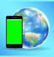 smartphone green screen with earth globe vector image vector image