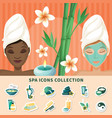 spa resort flat icons collection vector image vector image