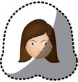 sticker colorful cartoon human female furious face vector image