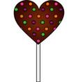 sweet lollipop chocolate in shape heart vector image vector image