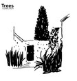 trees collection ink old wall and plants vector image vector image