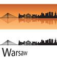 Warsaw skyline in orange background vector image vector image