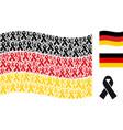 waving german flag mosaic of mourning ribbon icons vector image