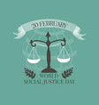 World Social Justice Day emblem vector image