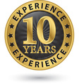 10 years experience gold label vector image vector image