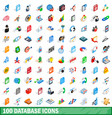 100 database icons set isometric 3d style vector image