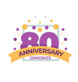 80 anniversary congrats birthday isolated icon vector image vector image