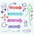 Arrow color sketchy design elements set vector image vector image