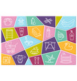 baby care linear icons on colored polygons vector image vector image