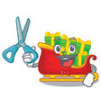 barber santa sleigh with piles presents cartoon vector image