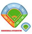 baseball stadium scheme with zone vector image