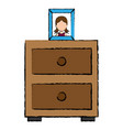 bedroom drawer with portrait vector image vector image