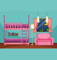 bedroom with bunkbed and pink sofa vector image vector image