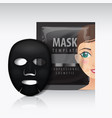 black facial sheet mask with sachet mock vector image vector image