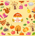 cartoon autumn elements and leaves sale vector image