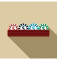 Casino gambling chips icon flat style vector image