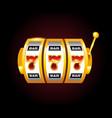 casino golden slots machine with 777 vector image vector image