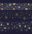 christmas and happy new year gold seamless pattern vector image vector image