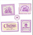christmas post stamp collection vector image
