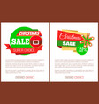 christmas sale price tag santa belt and snowflake vector image vector image