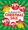christmas sale promotion banner green background vector image vector image