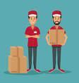 color background with men worker with packages vector image