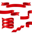 curled red ribbons collection of ribbon banners vector image