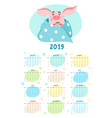cute calendar with cartoon pig new year 2019 vector image