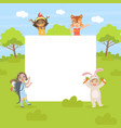 cute forest animals with blank banner cute kids vector image vector image