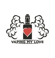 Emblem of an electronic cigarette with steam and vector image vector image