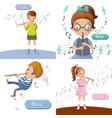 flute music banner set cartoon style vector image