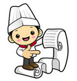 funny chef character look at the order page vector image