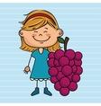 girl cartoon fruit food vector image vector image