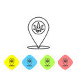 grey line map pointer and marijuana or cannabis vector image vector image