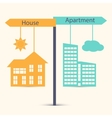 Guestion of choice between house and apartment vector image vector image