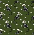 halloween seamless pattern with kitten in vector image