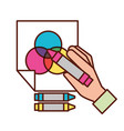 hand holding color crayon drawn on paper vector image vector image