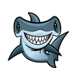 Happy cartoon hammerhead shark character vector image vector image