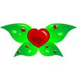 heart and leaf vector image vector image
