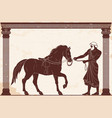hercules abducts the horses of diomedes vector image