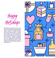 holiday celebration banner template in line style vector image