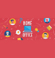 home office banner diverse online work team vector image