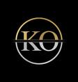 initial ko letter logo design abstract letter ko vector image vector image