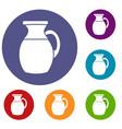 jug of milk icons set vector image vector image