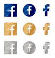 letter f icon social media icon facebook icon vector image