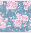 light blue denim with colorful floral pattern vector image vector image
