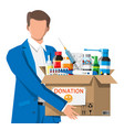 man and cardboard box full drugs vector image