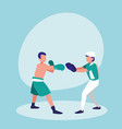 men practicing boxing avatar character vector image