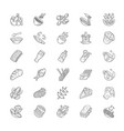 menu dishes linear icons set salads first meal vector image vector image