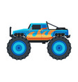 monster truck vehicle heavy blue pickup car vector image vector image